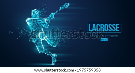 Abstract silhouette of a wireframe lacrosse player from particles on the blue background. Convenient organization of eps file. Vector illustartion. Thanks for watching Сток-фото ©