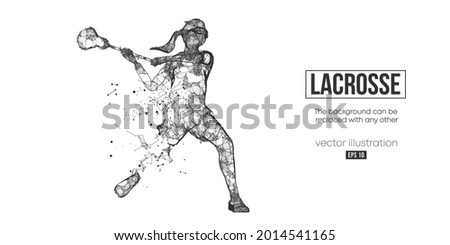 Abstract silhouette of a wireframe lacrosse player from particles on the white background. Convenient organization of eps file. Vector illustartion. Thanks for watching Сток-фото ©
