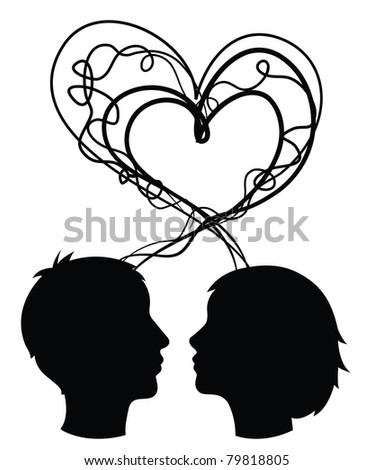 abstract silhouette of couple heads, love concept, vector