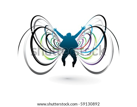 Abstract silhouette of men with butterflies design, vector illustration