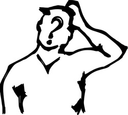 Abstract silhouette outline of a man with a question mark scratching his head in puzzlement. Line-art vector illustration.