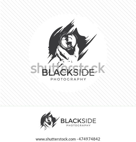 abstract silhouette photography logo. Vintage style camera icon vector with photographer holding a lens.