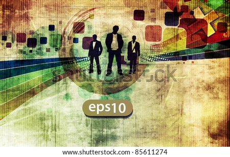abstract silhouettes of a business people with grunge background