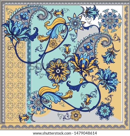 Abstract silk scarf pattern with paisley. Beautiful Oriental Paisley Pattern. Classic paisley elements for textile design.