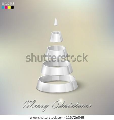 abstract silver Christmas tree - stock vector