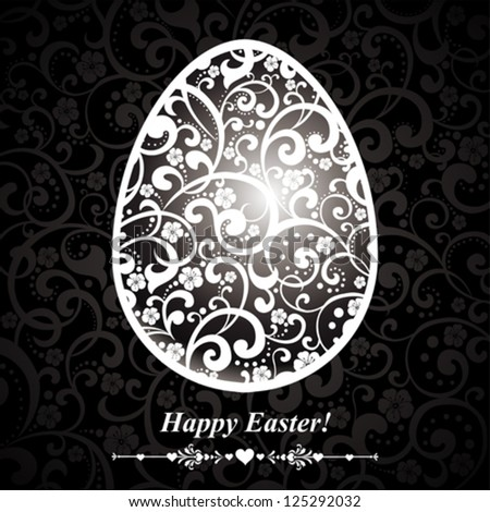 Abstract silver easter egg on black background. Vector illustration