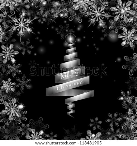 Abstract silver ribbon Christmas tree illustration with beautiful snowflakes in a border round the frame
