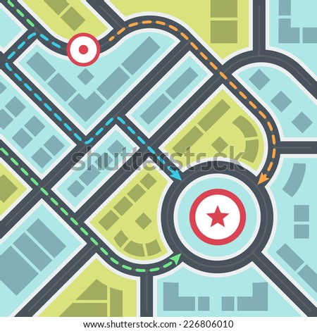 abstract simple city map with