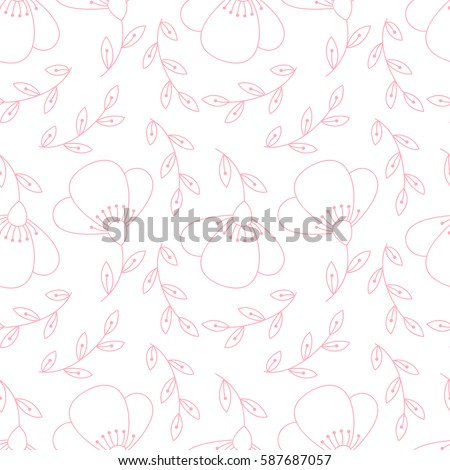 Abstract simple flower pattern. Floral cute print with flowers.