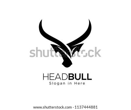 abstract Simple head bull logo