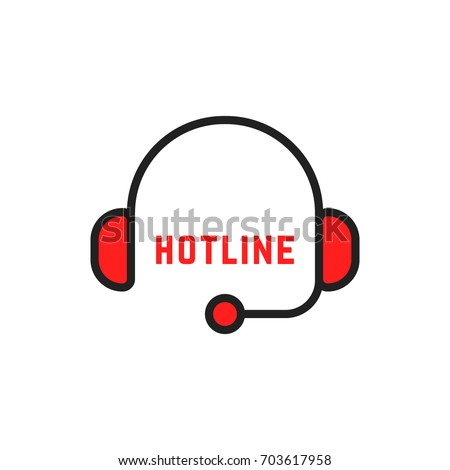 abstract simple thin line hotline logo. concept of 24/7 help contact for client by adviser or counselor. simple linear flat style trend crm logotype graphic art design isolated on white background