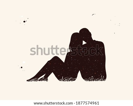 abstract sitting people silhouettes. lover Couple at Night with starry sky Zdjęcia stock ©