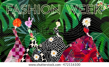Abstract sketch girl model, dress, suit, floral hat, text Fashion Week, show, pattern (tartan, checkerboard, dots, rose, daisy, butterfly), color vector design print, background green leaves striped ,