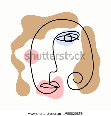Abstract sketch of female head. Drawn by hand. Modern vector illustration.