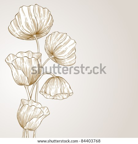 Abstract sketch with poppy flowers.