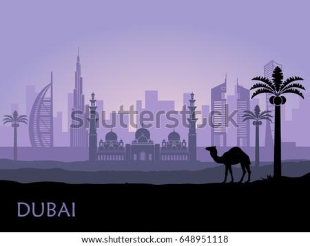 abstract skyline of dubai at