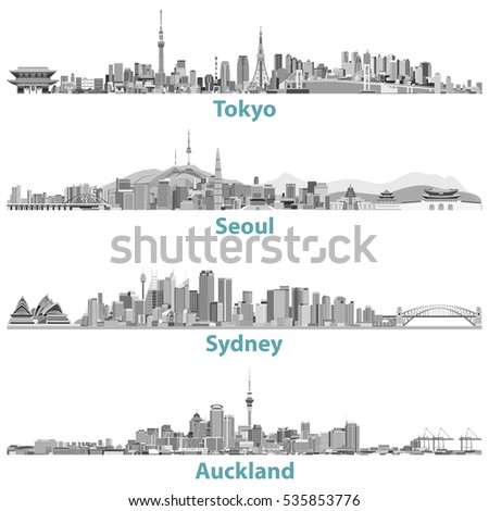 abstract skylines of tokyo