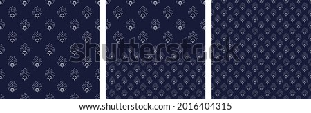 Abstract small white flowers motif pattern classic blue background. Modern ditsy floral fabric design textile swatch, ladies dress, man shirt, fashion garment, silk scarf all over print block.