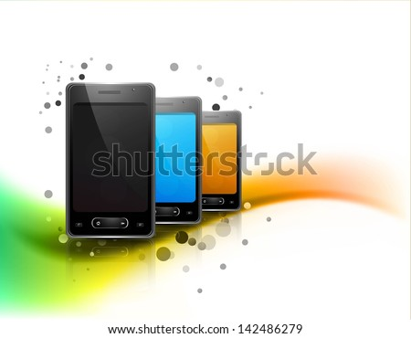 Abstract smart phone or mobile colorful handset reflection wave presentation white background