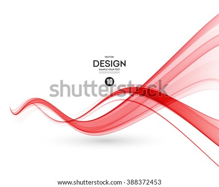 Abstract smooth color wave vector. Curve flow red motion illustration.