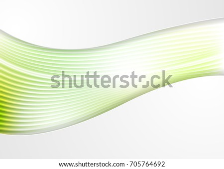 Abstract smooth green waves and lines pattern. Vector futuristic corporate template background