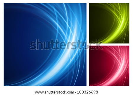 Abstract smooth light lines vector backgrounds set. Eps 10.