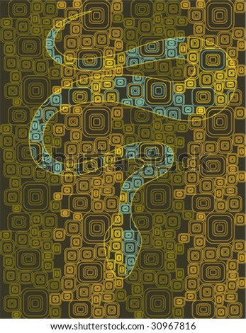 abstract snake like mosaic styled - stock vector