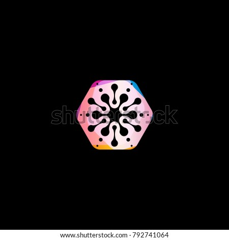 Abstract snowflake colorful shape. Unusual circles star isolated vector logo template on black background.