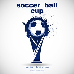 Abstract soccer ball grunge and cup. Logotype design. Vector illustration.