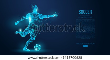 Abstract soccer player, footballer blue background
