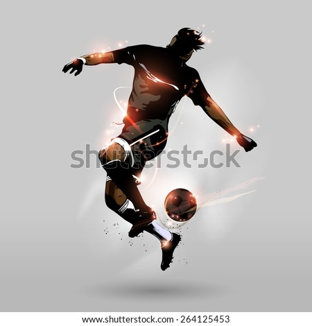 abstract soccer player jumping