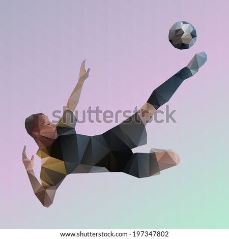 Abstract soccer player polygonal vector