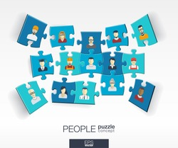 Abstract social background with connected color puzzles, integrated flat icons. 3d infographic concept with people, technology, network and media pieces in perspective. Vector interactive illustration