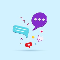 Abstract social media and technology with modern trendy color icons 3d vector illustration.