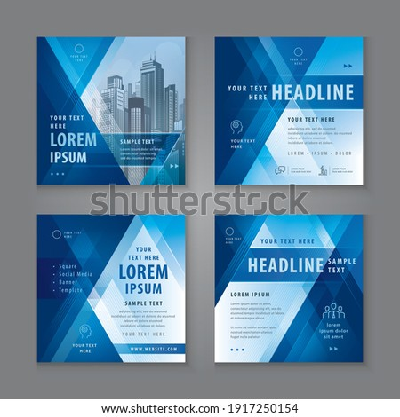 Abstract Social Media Banner Template Collection, Square Template Social Media Post Design for Digital Marketing, Abstract Geometric Triangle Background. Modern square header web banner profile.