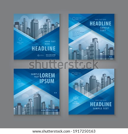 Abstract Social Media Banner Template Collection, Square Template Social Media Post Design for Digital Marketing, Abstract Blue Geometric Triangle Background. Modern square header web banner profile.