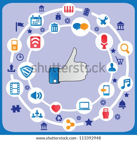 Abstract social media concept with background communication of the network - vector illustration