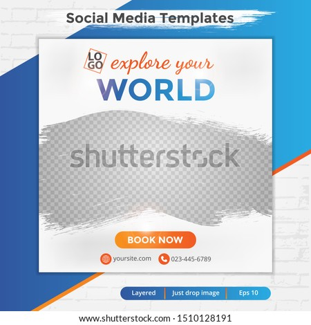 Abstract social media design post travel, Template for social media post, template design for travel ads, eps 10