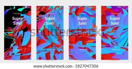 Abstract social media template with bright colored random small particle explosion. Sport music social media layout. Optical art dynamic background with outer space motion. Futuristic vector.