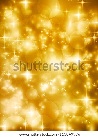 Abstract soft blurry background with bokeh lights, hightlights and stars in soft golden shades. The festive feeling makes it a great backdrop for many Christmas or other celebrations.