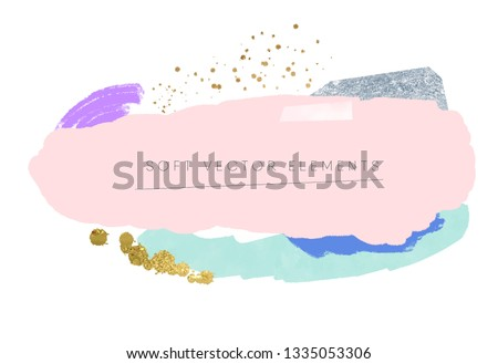 abstract soft brushstrokes pattern. gold and silver textures graphic design elements. colorful pastel paint strokes on white paper background. eps 8