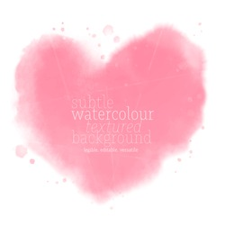 abstract soft pink watercolor heart shape on white background. eps 8