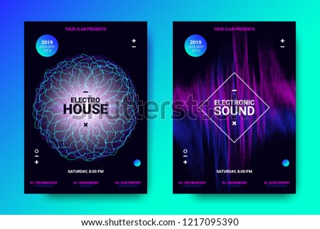 Abstract Sound Poster with Wave Amplitude and Distorted Rounds. Music Flyer Wave Concept. Vector Sound Equalizer Design for Banner. Abstract Covers for Dance Event. Dj Festival of Electronic Sound. #1217095390