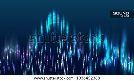 Abstract sound wave vector background. Tune spectrum soundwave