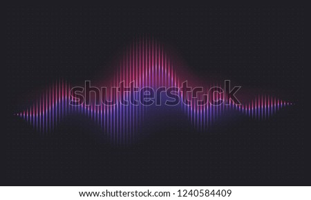 Abstract sound wave. Voice digital waveform, volume voice technology vibrant wave. Music sound energy vector background