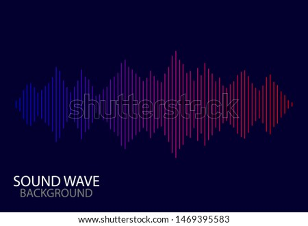 Abstract soundwave spectrum background. vector audio line of song.Digital abstract sound wave with gradient on blue background. vector illustration