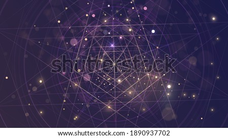 Abstract space background with pentagram and sparks or stars