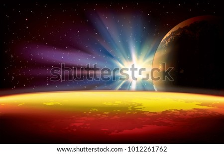 abstract space background with planets and stars vector illustration #1012261762