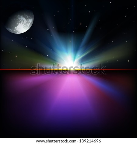 abstract space background with stars and sunrise