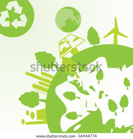 abstract space, ecology and industry background - vector illustration